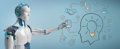 White humanoid creating artificial intelligence interface. White humanoid on blurred background creating artificial intelligence interface stock illustration