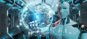 White humanoid using globe network hologram with Europe map 3D r. White humanoid on blurred background using globe network hologram with Europe map 3D rendering stock illustration