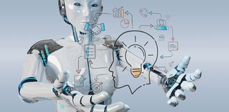White humanoid creating artificial intelligence interface. White humanoid on blurred background creating artificial intelligence interface vector illustration