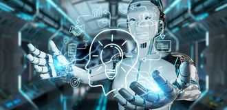 White humanoid creating artificial intelligence interface. White humanoid on blurred background creating artificial intelligence interface