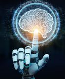 White humanoid hand using digital artificial intelligence icon h. White humanoid hand on blurred background using digital artificial intelligence icon hologram Royalty Free Stock Photos