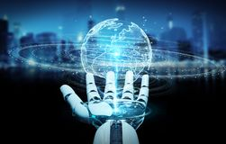 White humanoid hand using globe network hologram with Europe map. White humanoid hand on blurred background using globe network hologram with Europe map 3D Royalty Free Stock Photos