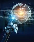 White humanoid hand using globe network hologram with Europe map. White humanoid hand on blurred background using globe network hologram with Europe map 3D Stock Photo