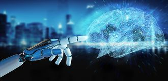 White humanoid hanid creating artificial intelligence 3D renderi. White humanoid hand on blurred background creating artificial intelligence 3D rendering Stock Image
