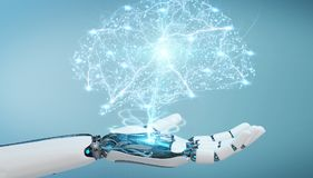 White humanoid hanid creating artificial intelligence 3D renderi. White humanoid hand on blurred background creating artificial intelligence 3D rendering Royalty Free Stock Photography