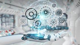 White humanoid robot hand using digital gears 3D rendering. White humanoid robot hand on blurred background using digital gears 3D rendering Royalty Free Stock Image