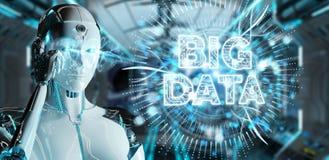 White humanoid woman using Big Data digital hologram 3D renderin. White humanoid woman on blurred background using Big Data digital hologram 3D rendering Royalty Free Stock Photography