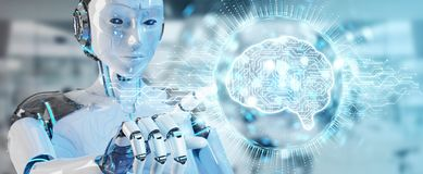 White humanoid woman using digital artificial intelligence icon. White humanoid woman on blurred background using digital artificial intelligence icon hologram
