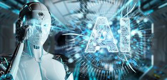 White humanoid woman using digital artificial intelligence icon. White humanoid woman on blurred background using digital artificial intelligence icon hologram vector illustration