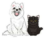 Puppy and kitten. White husky sit with little black kitten Stock Photos
