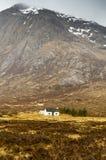 White hut under Stob Dearg Royalty Free Stock Photo