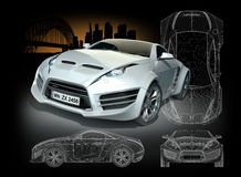 White hybrid sports car Royalty Free Stock Image