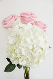 White hydrangea with 3 light pink roses. On the front of the image big white hydrangea and behind it three light pink roses in the row. Image is verttical and Royalty Free Stock Photography