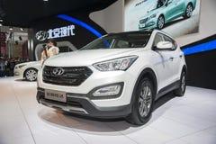 White hyundai santafe car Stock Photography