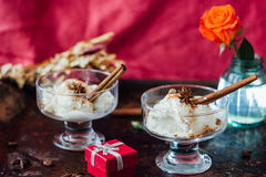 White ice cream with cinnamon and star anise on black rustic board. Royalty Free Stock Image