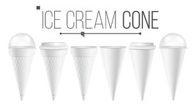 White Ice Cream Cone Mock Up Set Vector. For Ice Cream, Sour Cream. Different Food Bucket Cone Container. White Empty stock illustration