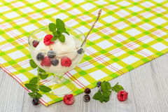 White ice cream in a glass with raspberry and currant berries an. D mint leaves on checkered napkin and wooden desk Stock Image