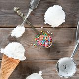 White ice cream wafer cone top view Royalty Free Stock Photo