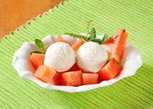 White ice cream with watermelon Royalty Free Stock Images