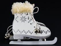 White ice skate Christmas Decoration. White ice skate Christmas Ornament, Christmas skates Stock Photos