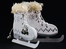 White ice skate Christmas Decoration. White ice skate Christmas Ornament, Christmas skates Stock Photo