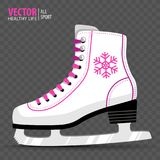 White Ice skate. Figure skating. Women`s ice skates. Winter sports. Vector illustration. Transparent background. Banner. Royalty Free Stock Photography