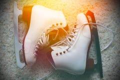 White ice skates. Pair of white ice skates Royalty Free Stock Photo