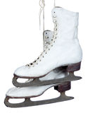 White ice skates on a white background Stock Images