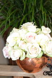 White iceberg roses in a vase. White iceberg roses in a copper vase Royalty Free Stock Image