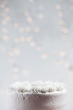 White Iced Birthday Cake With Lots Of Copyspace Above Royalty Free Stock Photo
