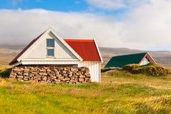 White Icelandic House at Sunny Day Stock Image