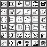 White icon set Part 3 Royalty Free Stock Image