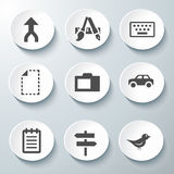 White Icon Vector. Set Beautiful of icons general vector design- car -bird -note Royalty Free Stock Photos