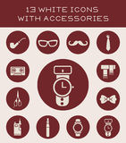 13 white icons with accessories. Set of icons with different accessories Vector Illustration