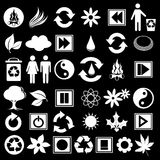 White icons on black. Illustration of a set of ecological icons on black Stock Photo