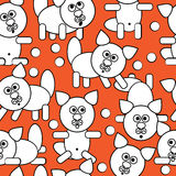 White icons cats seamless pattern Stock Photo