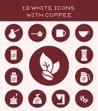 13 white icons with coffee. Set of white icon with different coffee and devices Vector Illustration