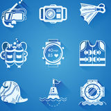 White icons collection of diving Stock Photo