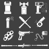 White icons collection of self-defense Royalty Free Stock Photos