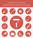 13 white icons construction devices. Icons of different construction equipment Stock Photos