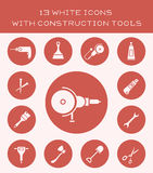 13 white icons with construction tools. Icons of different equipment for repair Royalty Free Stock Photos