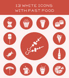 13 white icons with fast food. Set of white icon with different fast food Stock Illustration