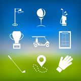 White icons for golf Royalty Free Stock Image