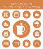 13 white icons with kitchen appliances. Set of icons with various kitchen appliances stock illustration