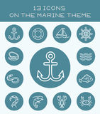 13 white icons on the marine theme. Set of icons with various sea creatures and objects Royalty Free Stock Photos
