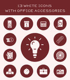 13 white icons with office accessories. Icon set of various office equipment and accessories Royalty Free Stock Photo