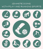 13 white icons with play and running sports. Set of white icon with sports games and devices Stock Image