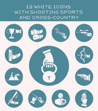 13 white icons with shooting sports and cross-country. Set of white icon with sports shooting and power sports Royalty Free Stock Photo