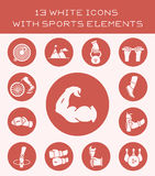 13 white icons with sports elements. Set of white icon with different sports activities Stock Image