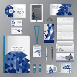 White identity template with blue origami elements. Vector compa Stock Photos
